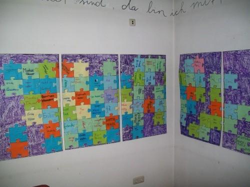 Puzzle-Wand der Mitarbeiter